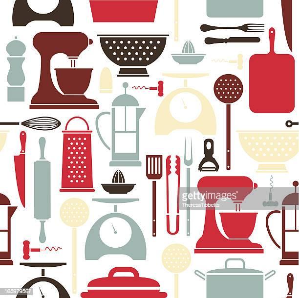 kitchen utensil pattern - cooking utensil stock illustrations, clip art, cartoons, & icons