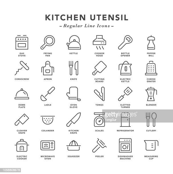 kitchen utensil - regular line icons - exhaust fan stock illustrations, clip art, cartoons, & icons