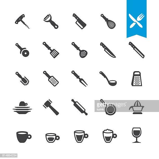 stockillustraties, clipart, cartoons en iconen met kitchen utensil vector icons - dunschiller