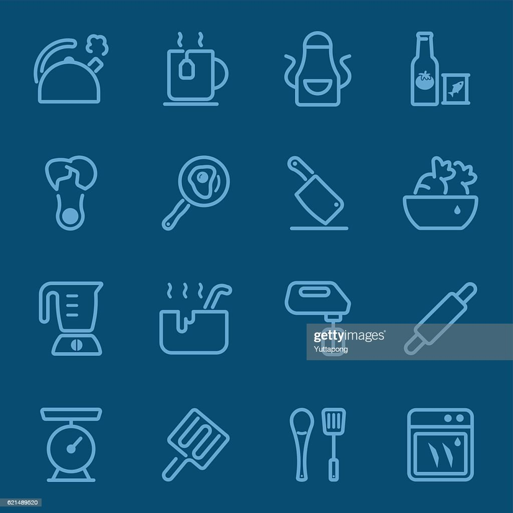 Kitchen Utensils and cooking blue line icon 2