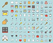Kitchen utensils and device, bakery equipments, chef uniform and household appliance 100 icons, drawing on grid system, filled thin outline icon 1 px stroke