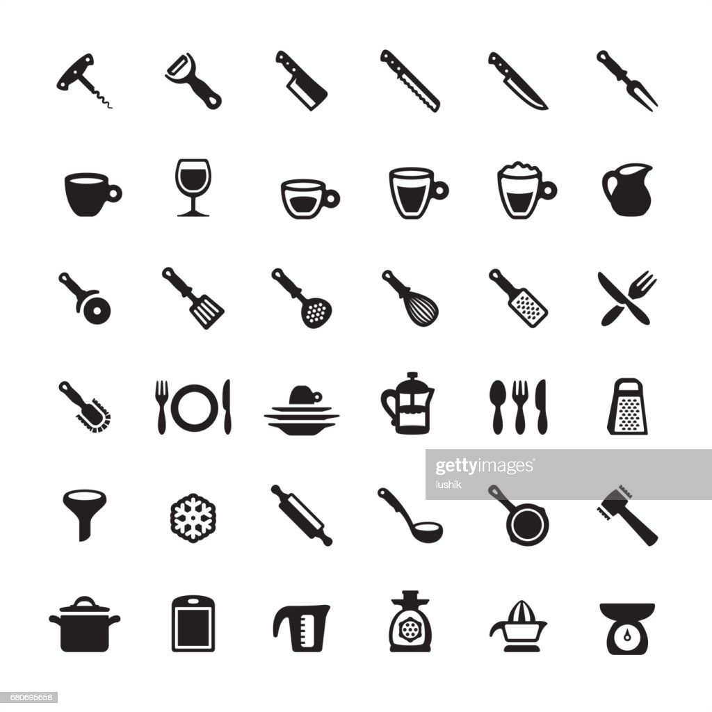 Kitchen utensils and tools icons set