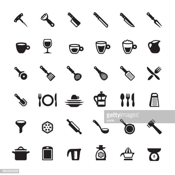 kitchen utensils and tools icons set - egg beater stock illustrations, clip art, cartoons, & icons