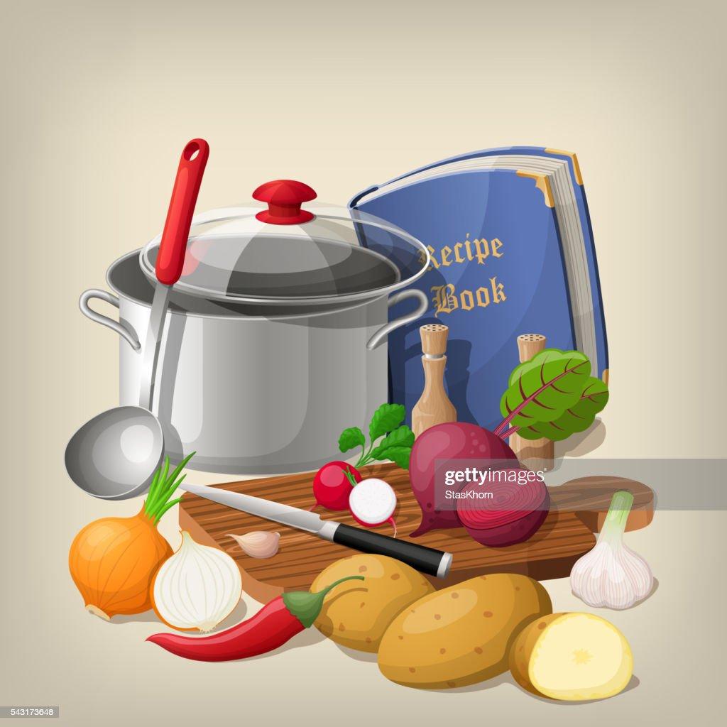 Kitchen utensils and vegetables. Vector  background.