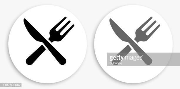 stockillustraties, clipart, cartoons en iconen met keukengerei zwart en wit ronde icoon - vork