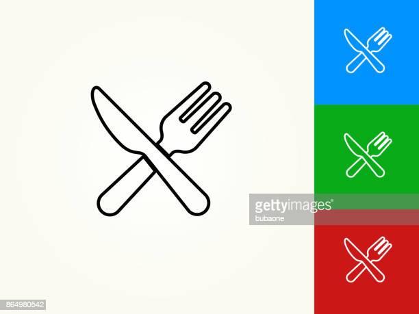 stockillustraties, clipart, cartoons en iconen met keukengerei zwarte lijn lineaire pictogram - tafelmes