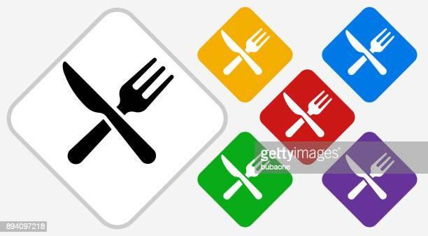 Kitchen Utensils Color Diamond Vector Icon
