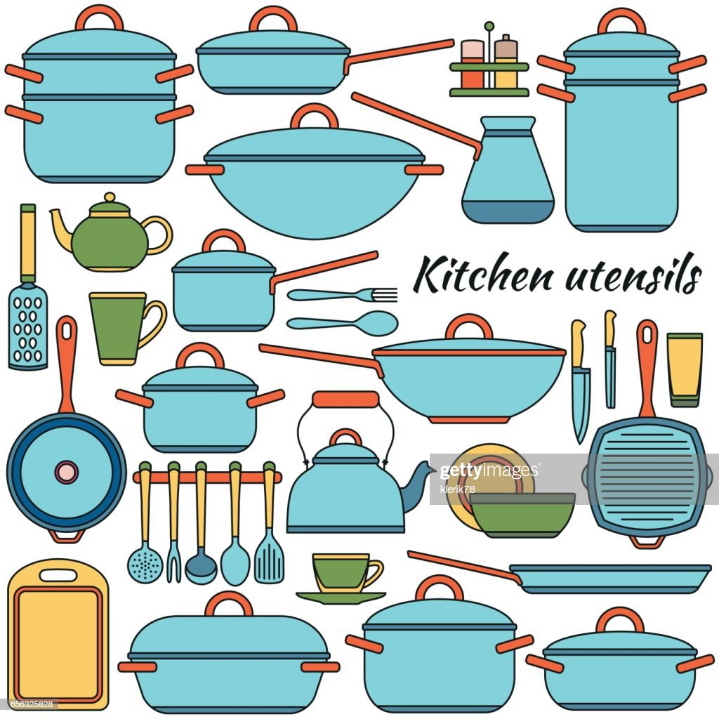 Kitchen Utensils Colorful Icons Set Vector Illustration Vector Art ...