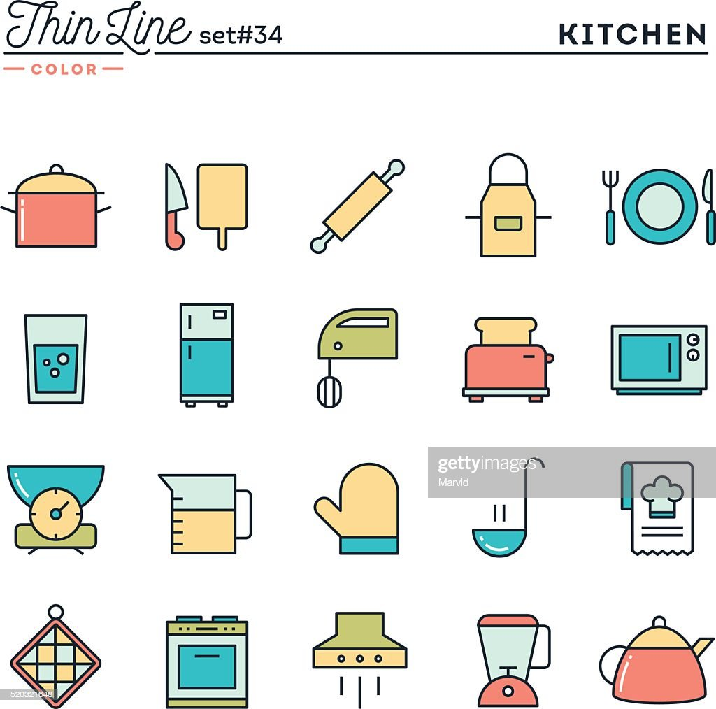 Kitchen utensils, food preparation and more, thin line color icons