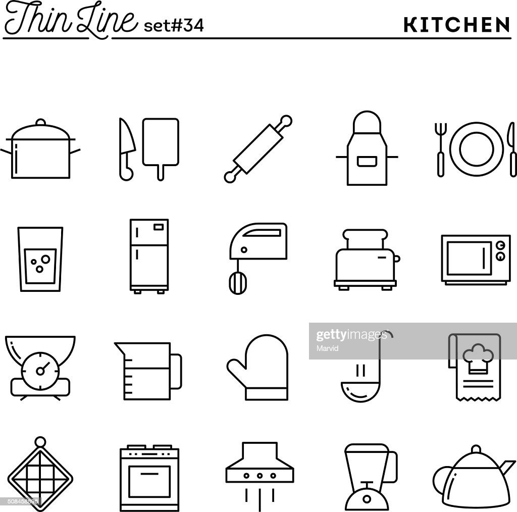 Kitchen utensils, food preparation and more, thin line icons set