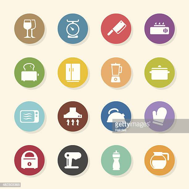 Kitchen Utensils Icons - Color Circle Series