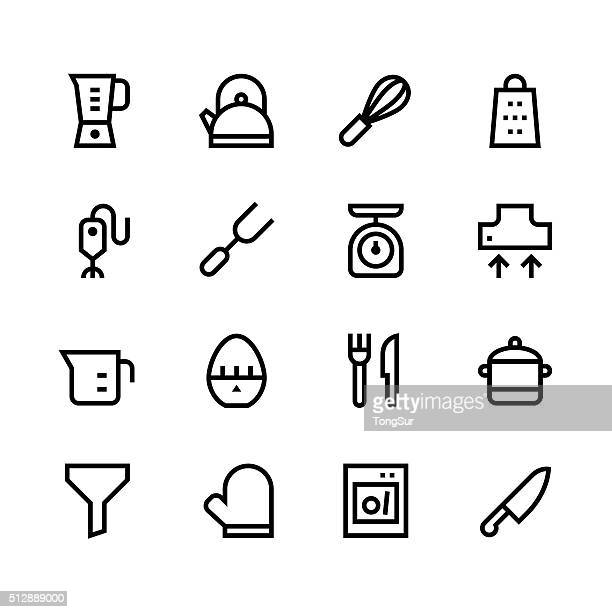 kitchen utensils icons - line | set 1 - black series - kitchen scale stock illustrations, clip art, cartoons, & icons