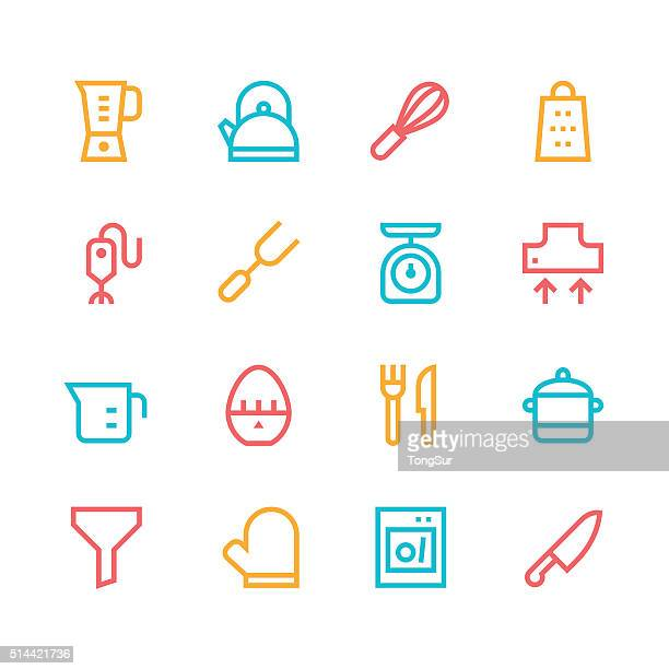 kitchen utensils icons - line | set 1 - color series - kitchen scale stock illustrations, clip art, cartoons, & icons