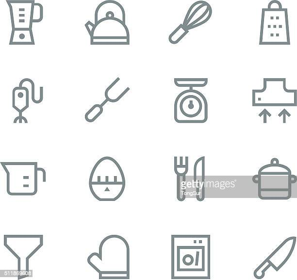 kitchen utensils icons - line | set 1 - egg beater stock illustrations, clip art, cartoons, & icons