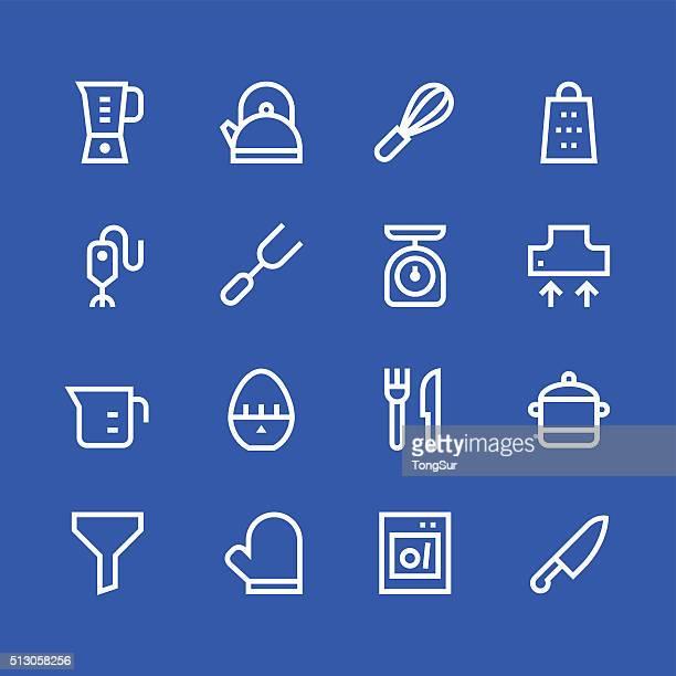 kitchen utensils icons - line | set 1 - white series - egg beater stock illustrations, clip art, cartoons, & icons