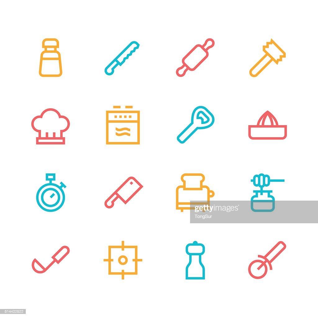 Kitchen utensils icons - line   set 2 - color series : stock illustration