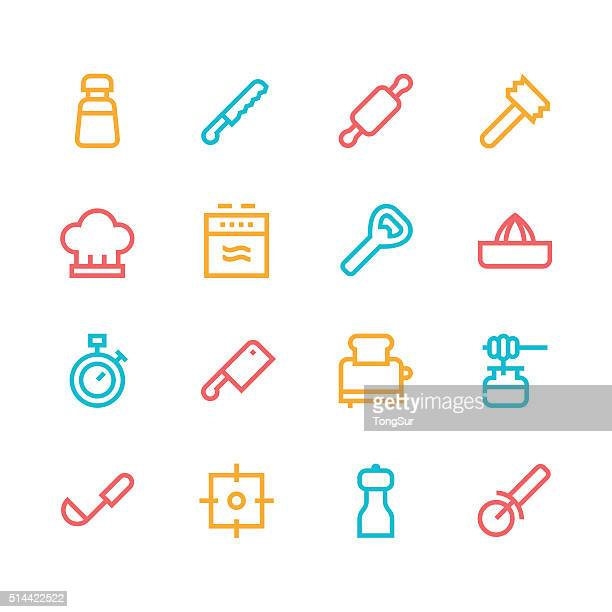 Kitchen utensils icons - line | set 2 - color series