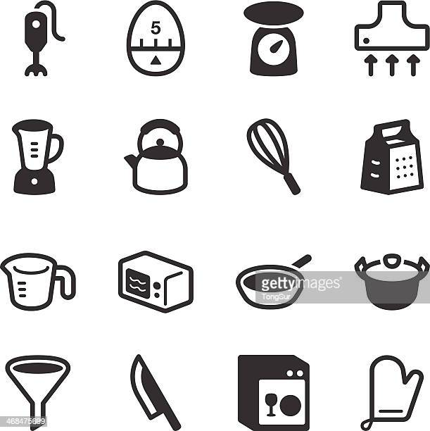 kitchen utensils icons | set 1 - kitchen scale stock illustrations, clip art, cartoons, & icons