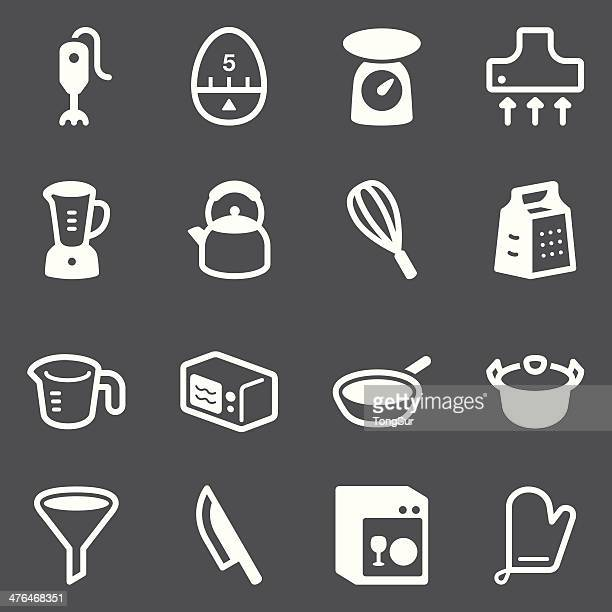 kitchen utensils icons | set 1 - white series - kitchen scale stock illustrations, clip art, cartoons, & icons