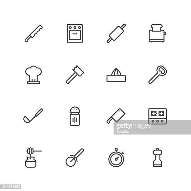 kitchen utensils icons   set 2 - toaster appliance stock illustrations, clip art, cartoons, & icons