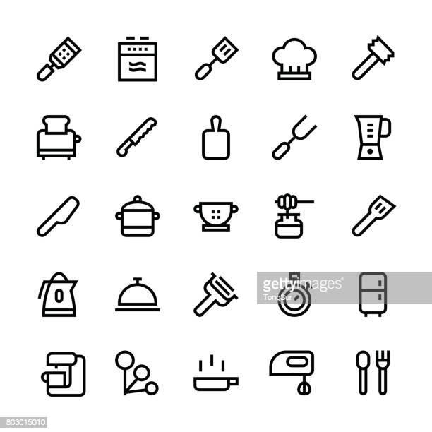 kitchen utensils icons set2 - medium line - egg beater stock illustrations, clip art, cartoons, & icons