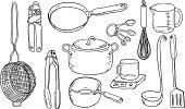Kitchen utensils in black and white
