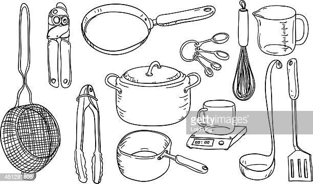kitchen utensils in black and white - cooking pan stock illustrations