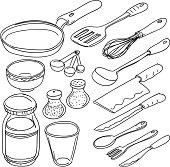 Kitchen utensils in sketch style