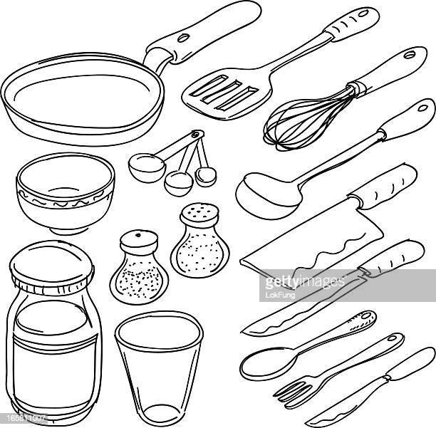 ilustrações de stock, clip art, desenhos animados e ícones de utensílios de cozinha, esboço de estilo - batedor de ovos manual