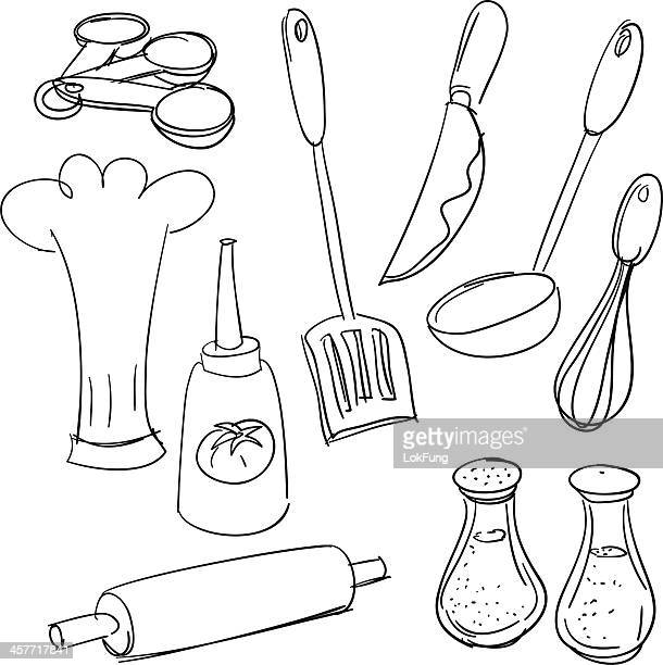 kitchen utensils in sketch style - kitchenware department stock illustrations, clip art, cartoons, & icons