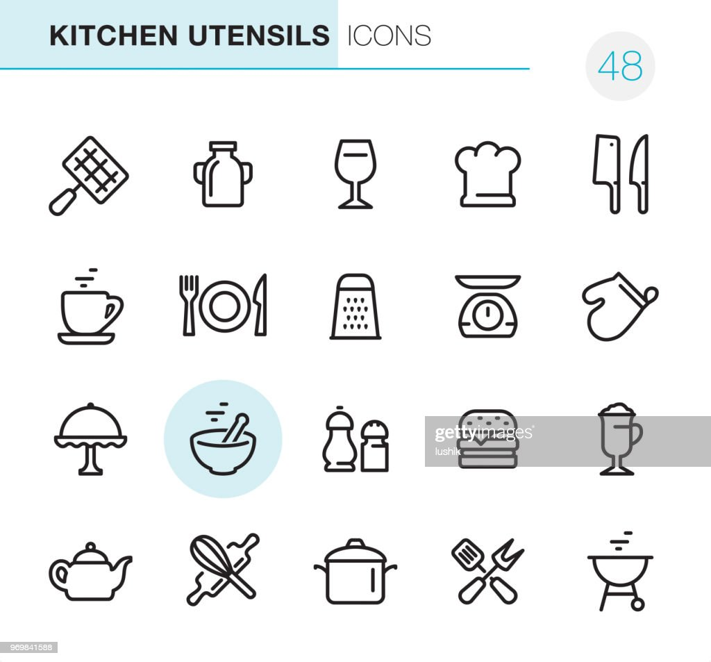 Kitchen Utensils - Pixel Perfect icons : stock illustration