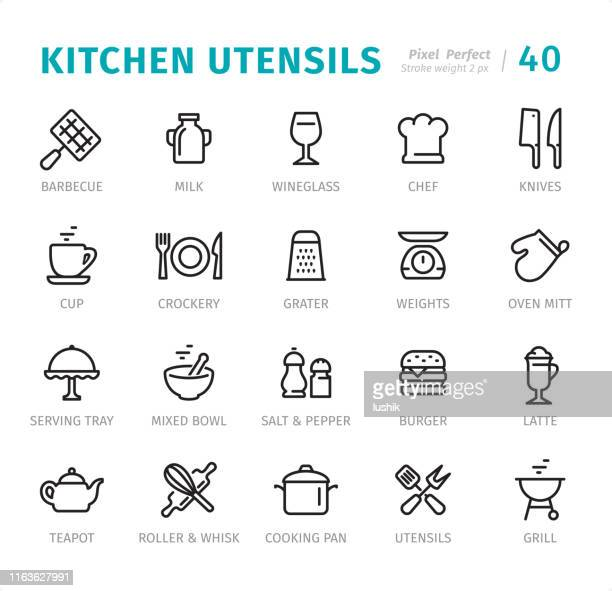 kitchen utensils - pixel perfect line icons with captions - kitchen scale stock illustrations, clip art, cartoons, & icons