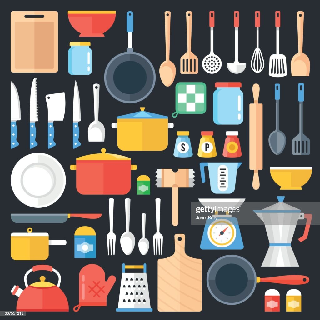 Kitchen utensils set. Kitchenware, cookware, cutlery, kitchen tools collection. Modern flat icons set, graphic elements, objects. Flat design concept. Vector illustration