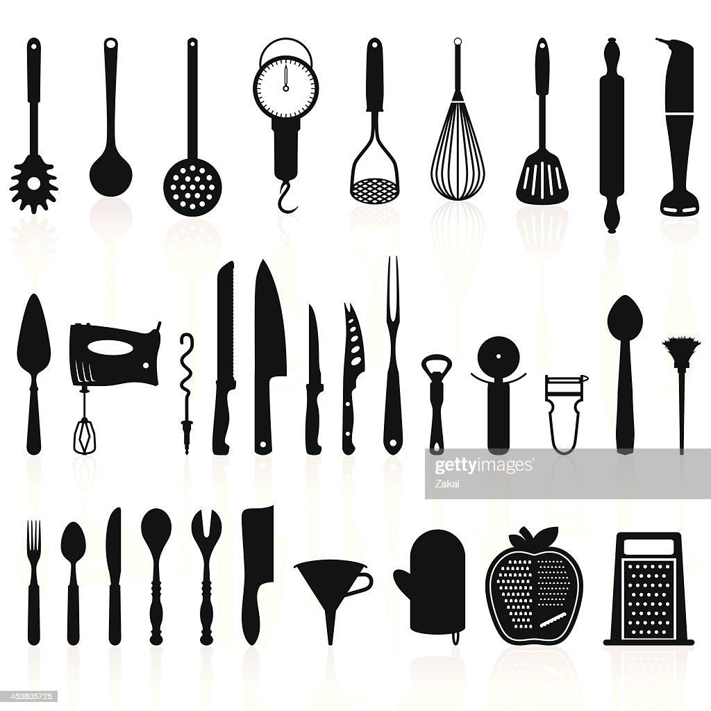 ustensiles de cuisine silhouette lot 1outils de cuisine clipart vectoriel getty images. Black Bedroom Furniture Sets. Home Design Ideas