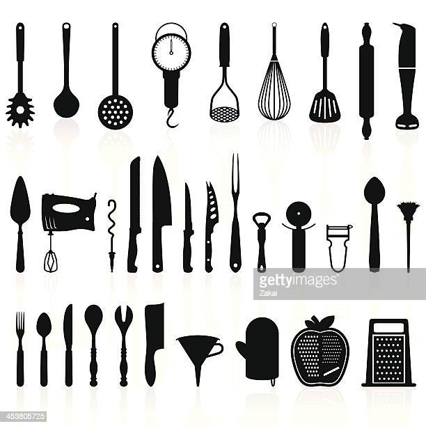kitchen utensils silhouette pack 1 - cooking tools - utility knife stock illustrations