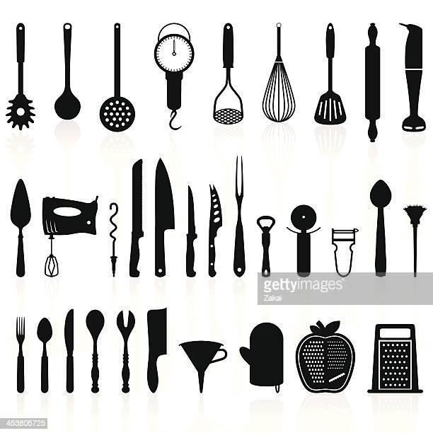 stockillustraties, clipart, cartoons en iconen met kitchen utensils silhouette pack 1 - cooking tools - keukengereedschap