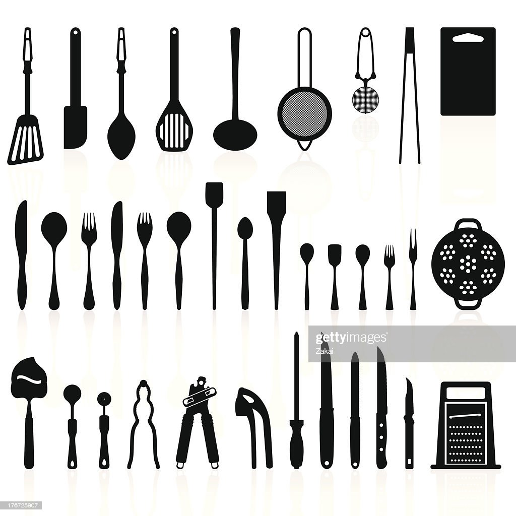 Kitchen Utensils Silhouette Pack 2 Cooking Tools Vector Art | Getty ...