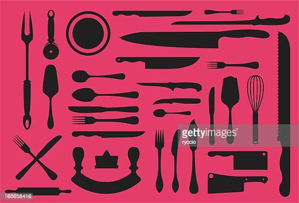 ilustraciones, imágenes clip art, dibujos animados e iconos de stock de colección de utensilios de cocina silouhette - pescadoymariscos