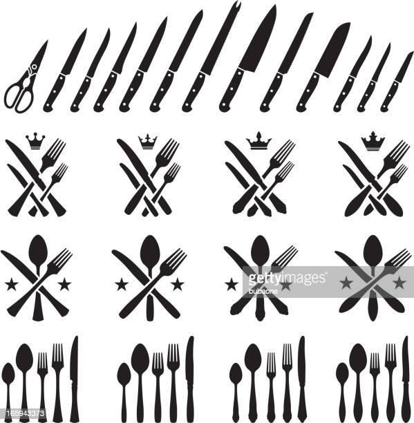 ilustrações de stock, clip art, desenhos animados e ícones de utensílios de cozinha prata garfos e facas colheres vector conjunto de ícones - talheres