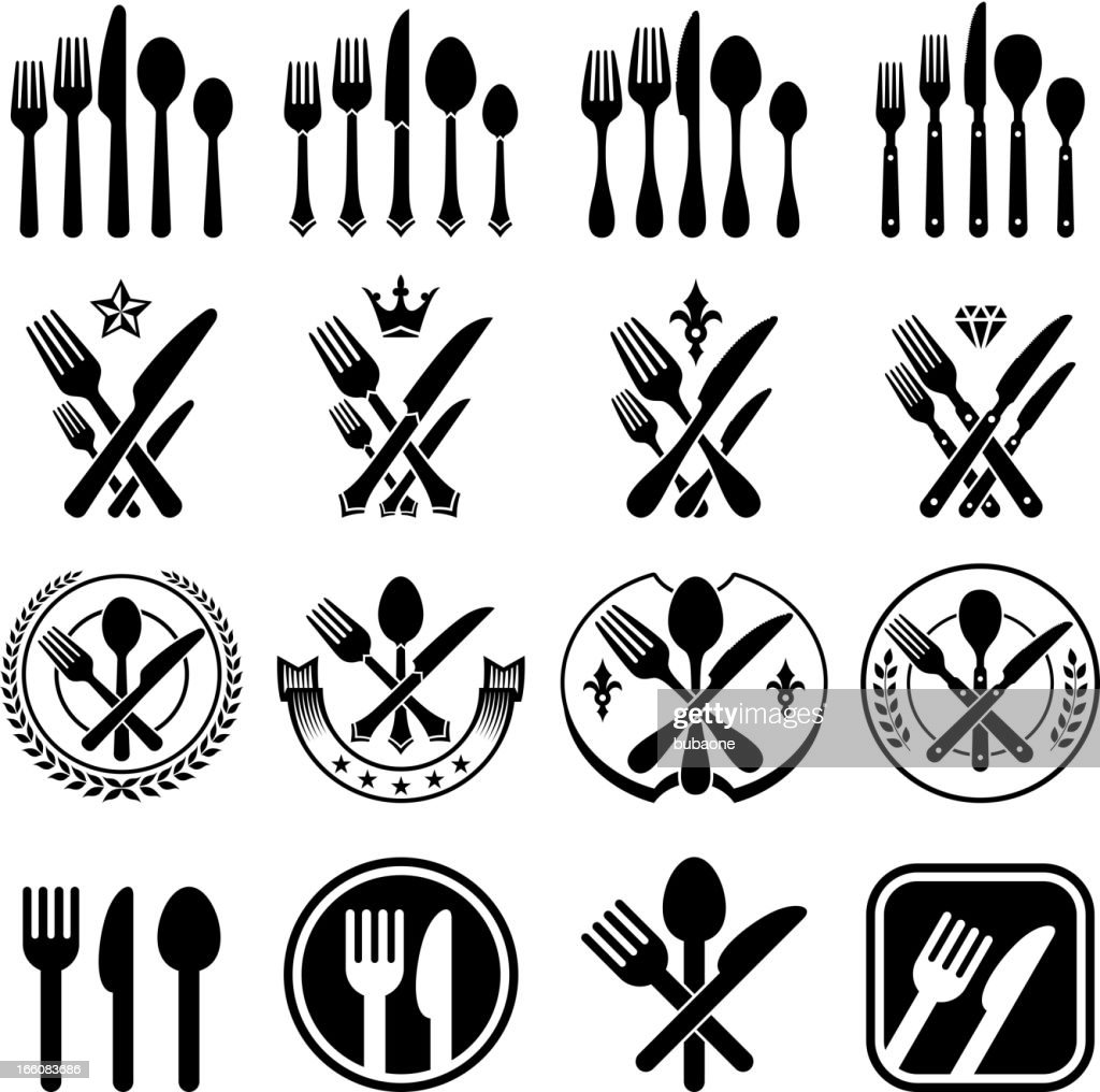 Set Of Black Kitchen Icons Utensils Stock Vector: Kitchen Utensils Silverware Forks Knifes And Spoons Vector