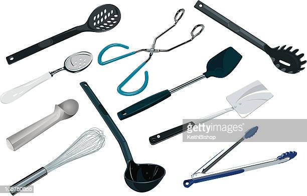 kitchen utensils - spoons, tongs and spatulas - egg beater stock illustrations, clip art, cartoons, & icons