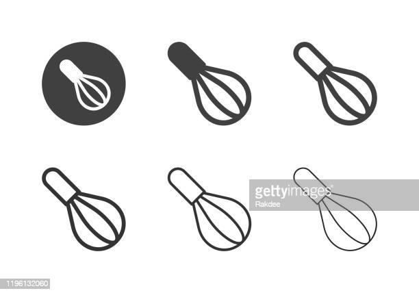 ilustrações, clipart, desenhos animados e ícones de ícones do whisk da cozinha - série múltipla - misturando