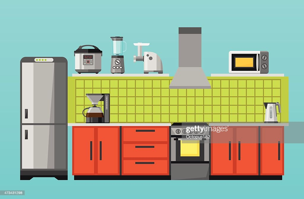 Kitchen with furniture and appliances. Flat style vector illustration