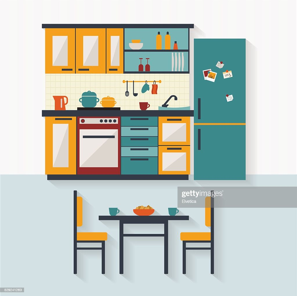 Kitchen with furniture flat illustration