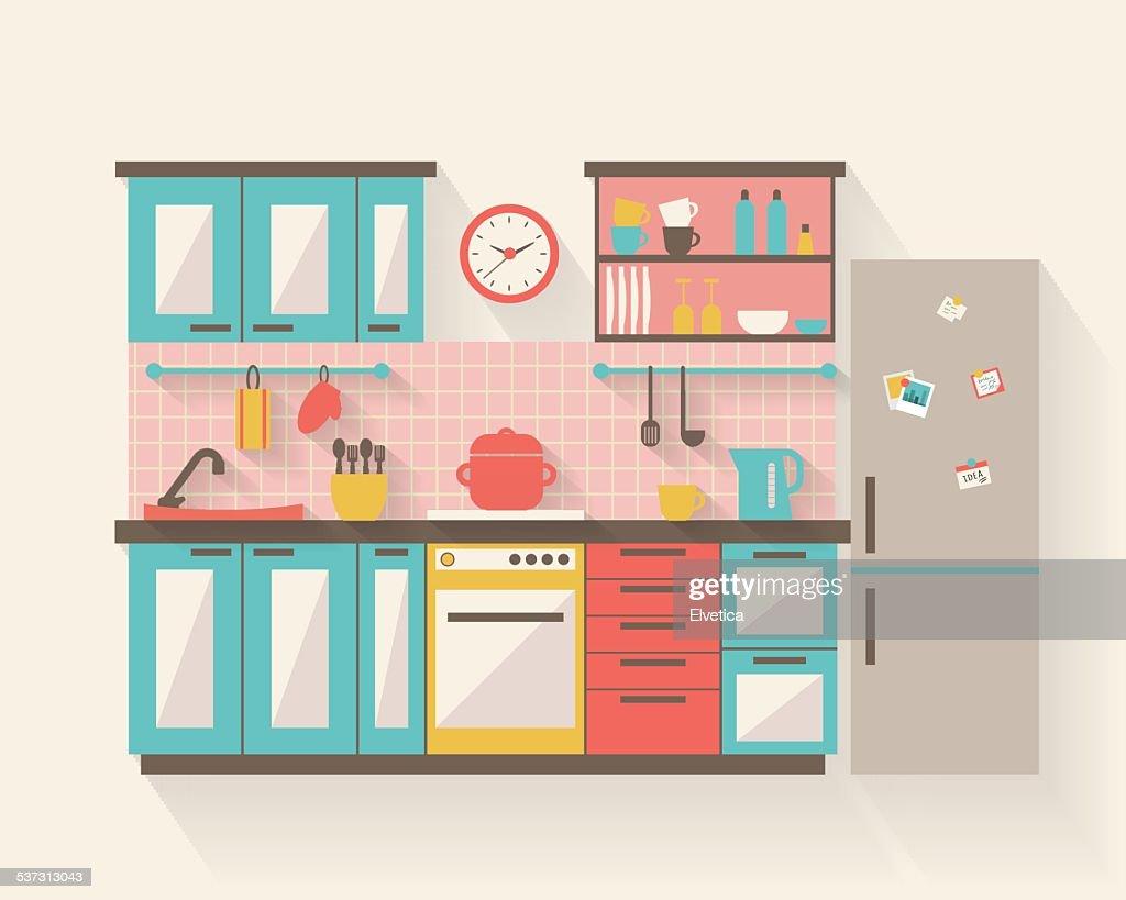 Kitchen with furniture flat illustration