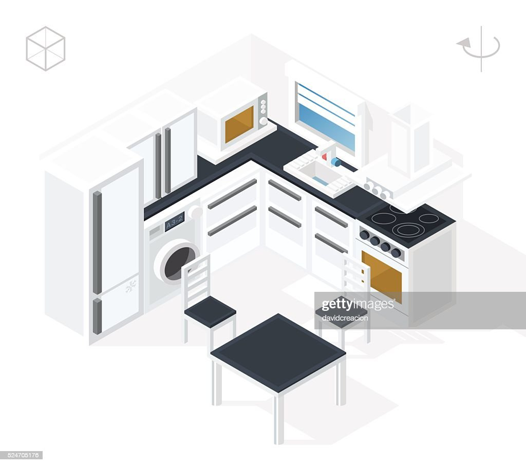 Kitchen with Shadows on White Background.