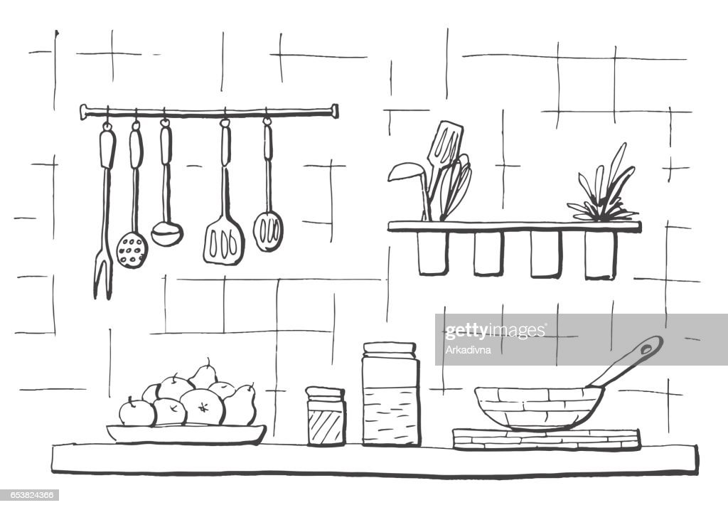 Kitchen worktop. Table top in the kitchen. Vector illustration in sketch style.