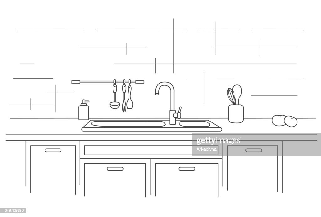 Kitchen worktop with sink. Linear vector illustration