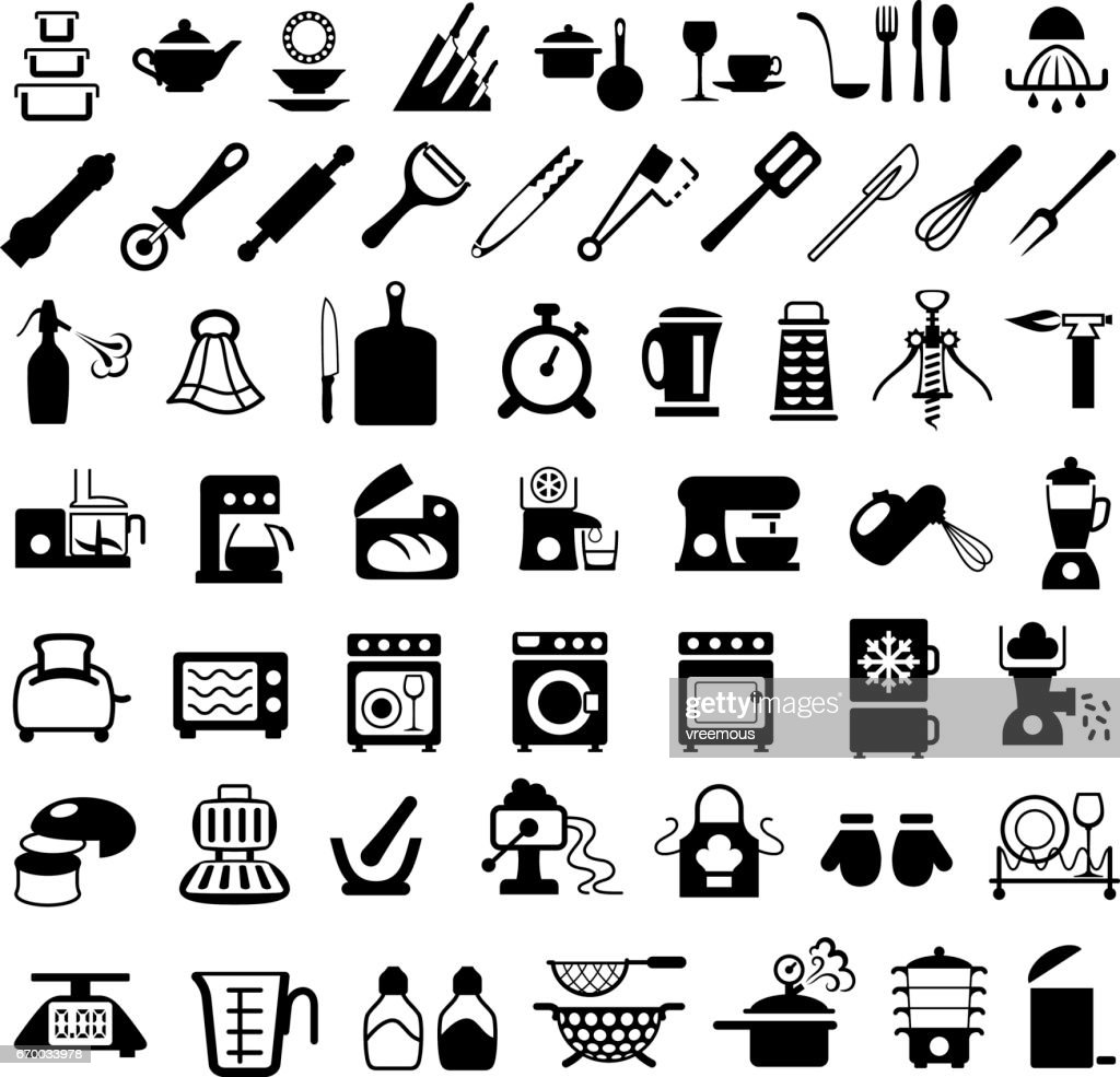 Kitchenware, Cooking Utensils and Appliances Icons : stock illustration