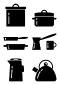 Kitchenware flat icon set, black and white silhouette, vector illustration